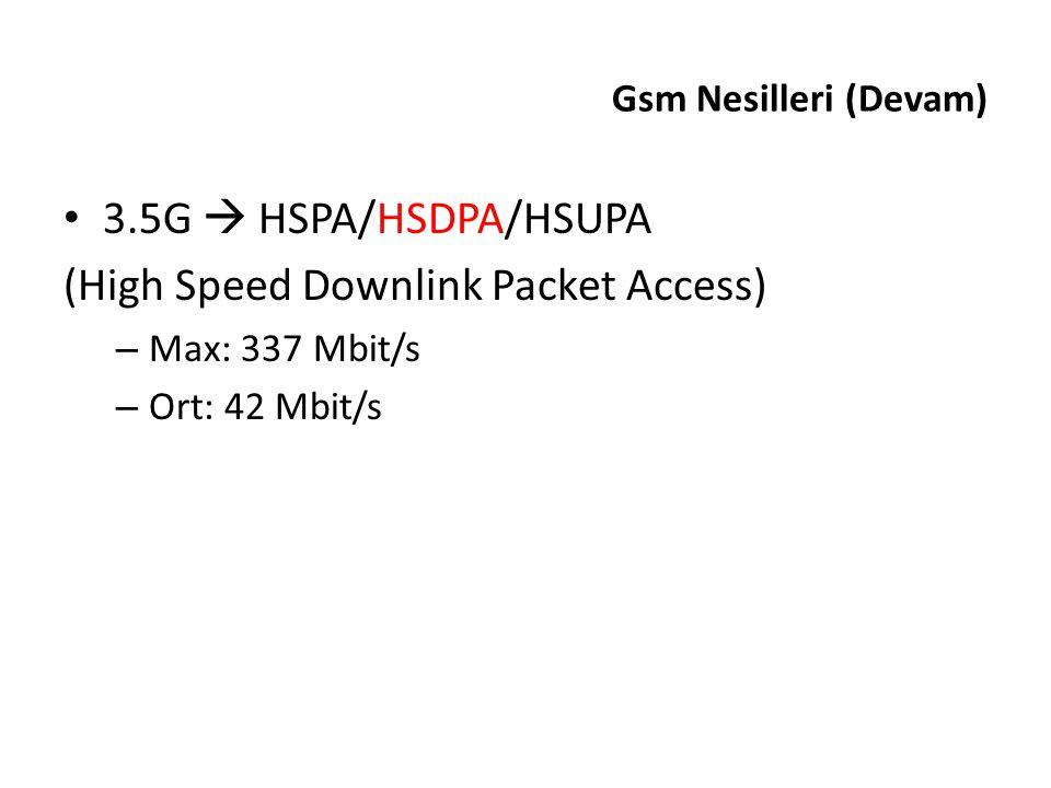 3.5G  HSPA/HSDPA/HSUPA (High Speed Downlink Packet Access) – Max: 337 Mbit/s – Ort: 42 Mbit/s Gsm Nesilleri (Devam)