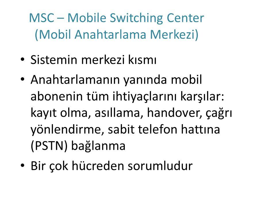 MSC – Mobile Switching Center (Mobil Anahtarlama Merkezi) Sistemin merkezi kısmı Anahtarlamanın yanında mobil abonenin tüm ihtiyaçlarını karşılar: kay