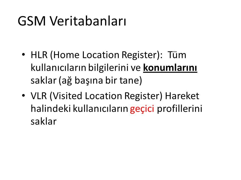 GSM Veritabanları HLR (Home Location Register): Tüm kullanıcıların bilgilerini ve konumlarını saklar (ağ başına bir tane) VLR (Visited Location Regist