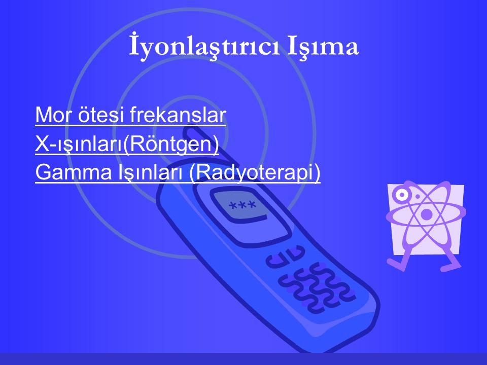 İyonlaştırıcı Işıma Mor ötesi frekanslar X-ışınları(Röntgen) Gamma Işınları (Radyoterapi)
