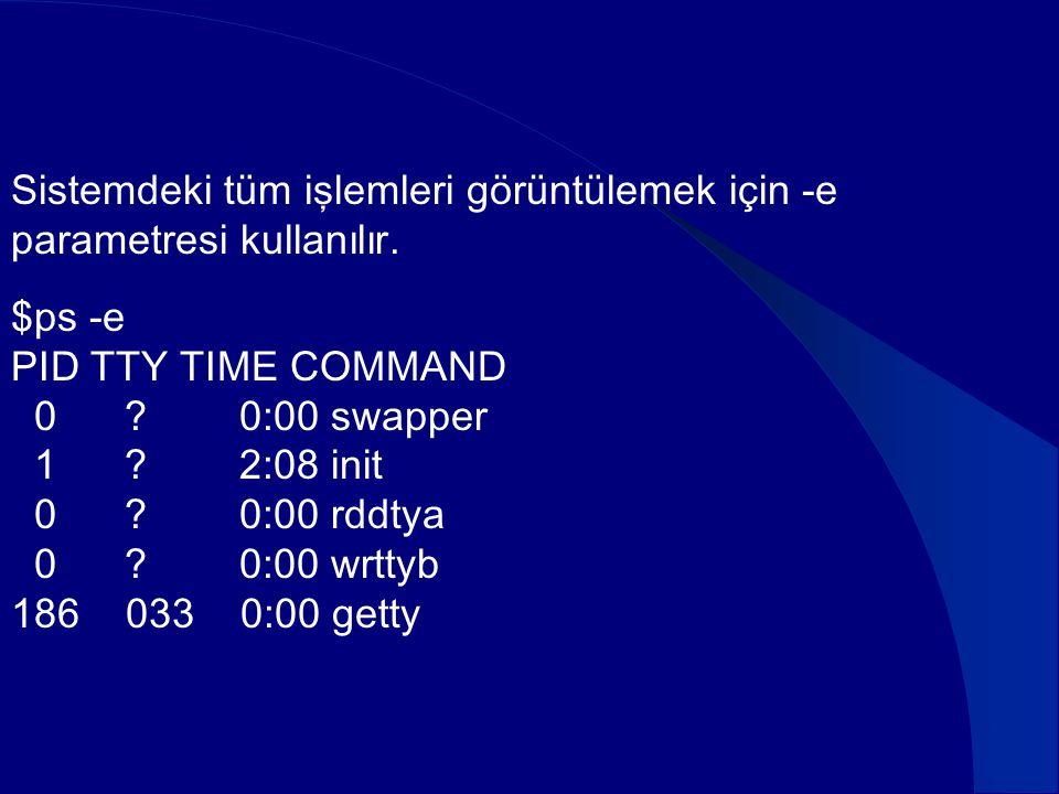 Sistemdeki tüm işlemleri görüntülemek için -e parametresi kullanılır. $ps -e PID TTY TIME COMMAND 0 ? 0:00 swapper 1 ? 2:08 init 0 ? 0:00 rddtya 0 ? 0