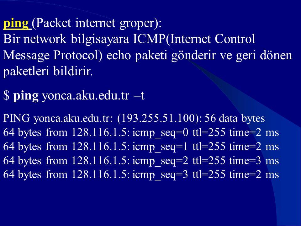 ping (Packet internet groper): Bir network bilgisayara ICMP(Internet Control Message Protocol) echo paketi gönderir ve geri dönen paketleri bildirir.