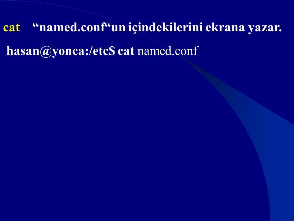 """cat """"named.conf""""un içindekilerini ekrana yazar. hasan@yonca:/etc$ cat named.conf"""