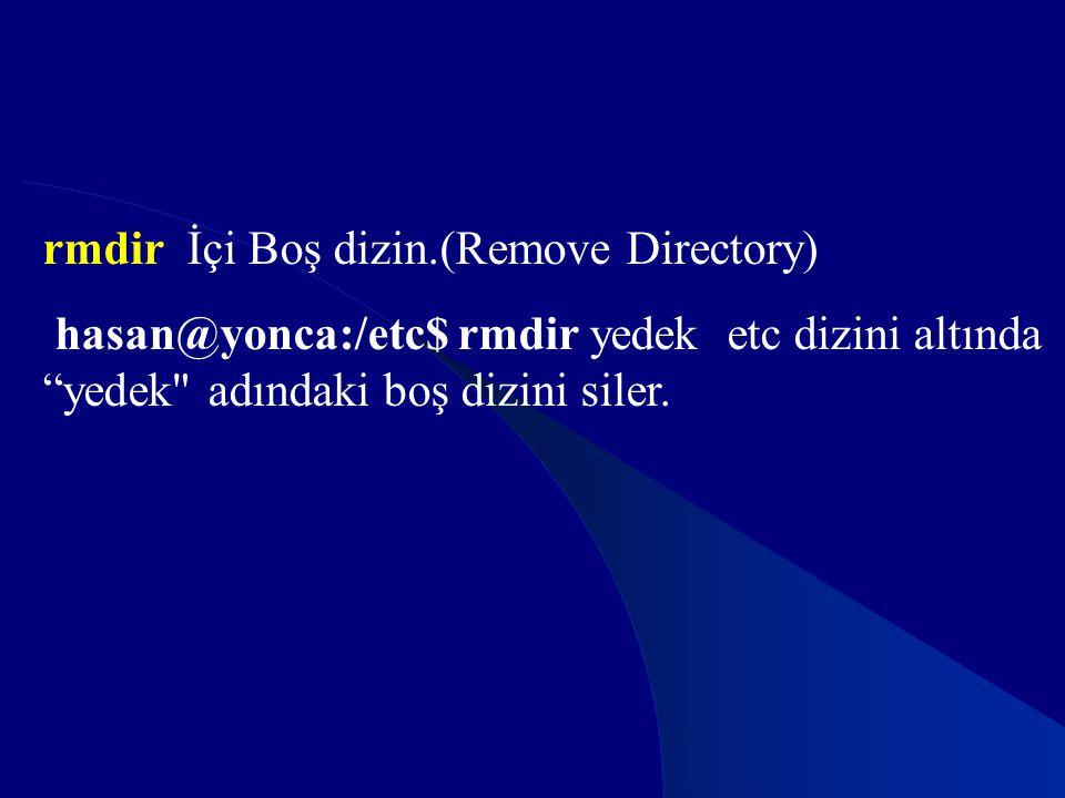 """rmdir İçi Boş dizin.(Remove Directory) hasan@yonca:/etc$ rmdir yedek etc dizini altında """"yedek"""