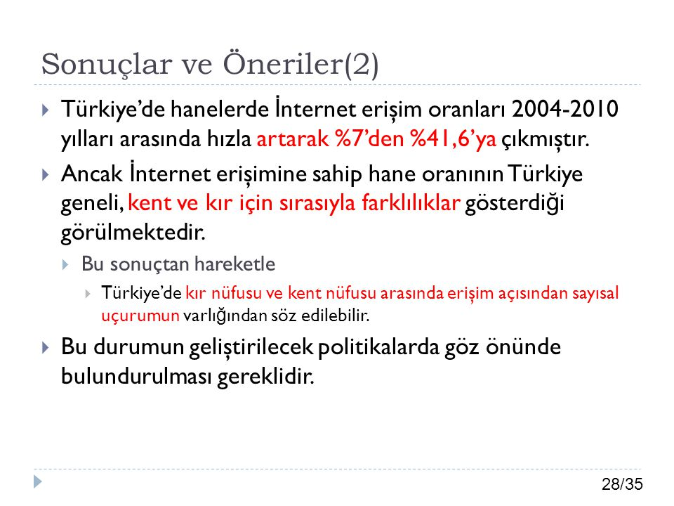 28/35 Sonuçlar ve Öneriler(2)  Türkiye'de hanelerde İ nternet erişim oranları 2004-2010 yılları arasında hızla artarak %7'den %41,6'ya çıkmıştır.  A