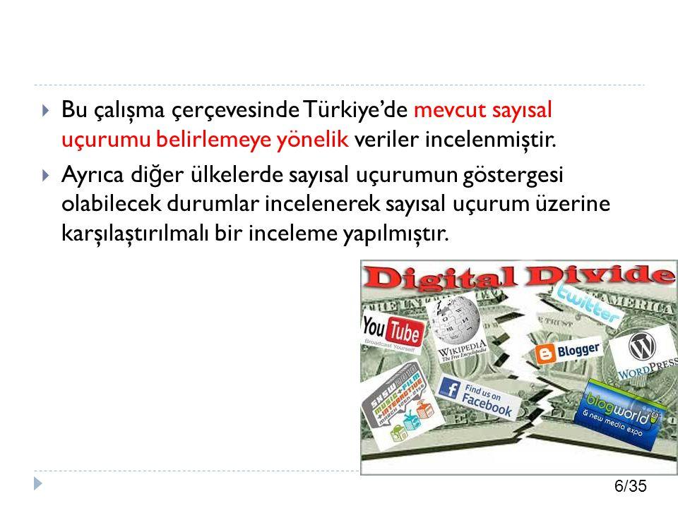 6/35  Bu çalışma çerçevesinde Türkiye'de mevcut sayısal uçurumu belirlemeye yönelik veriler incelenmiştir.  Ayrıca di ğ er ülkelerde sayısal uçurumu