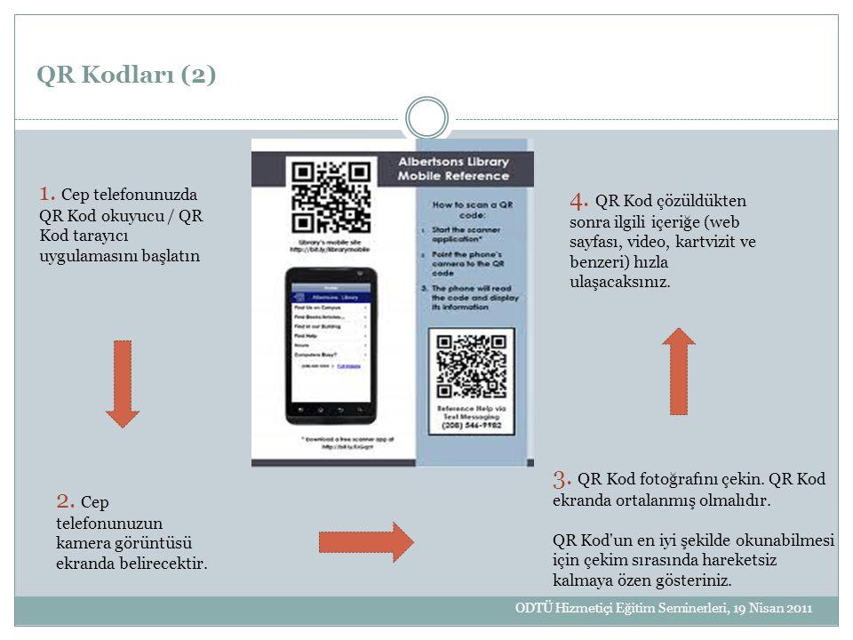 QR Kodları (2) 1. Cep telefonunuzda QR Kod okuyucu / QR Kod tarayıcı uygulamasını başlatın 2. Cep telefonunuzun kamera görüntüsü ekranda belirecektir.