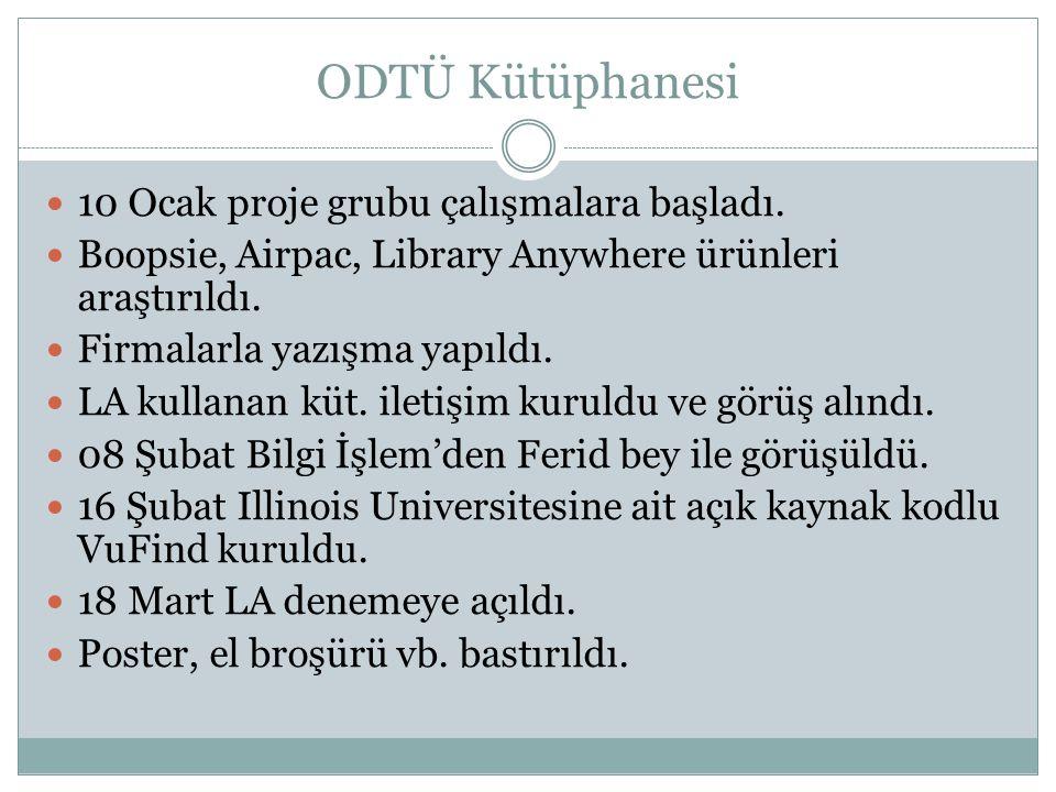 ODTÜ Kütüphanesi 10 Ocak proje grubu çalışmalara başladı. Boopsie, Airpac, Library Anywhere ürünleri araştırıldı. Firmalarla yazışma yapıldı. LA kulla