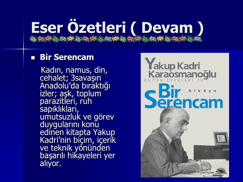 Eser Özetleri ( Devam ) Bir Serencam Bir Serencam Kadın, namus, din, cehalet; 3savaşın Anadolu'da bıraktığı izler; aşk, toplum parazitleri, ruh sapıkl