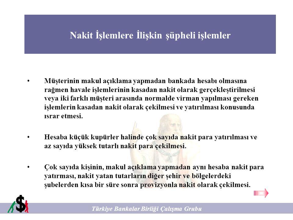 Nakit İşlemlere İlişkin şüpheli işlemler Türkiye Bankalar Birliği Çalışma Grubu Müşterinin makul açıklama yapmadan bankada hesabı olmasına rağmen hava