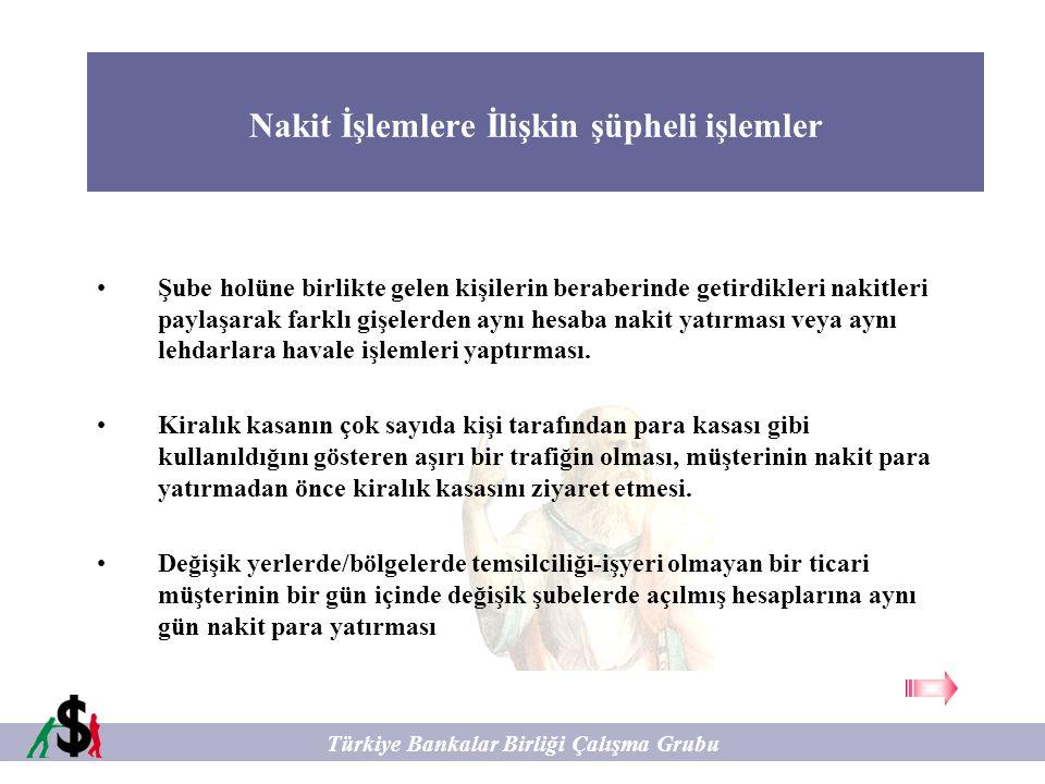 Nakit İşlemlere İlişkin şüpheli işlemler Türkiye Bankalar Birliği Çalışma Grubu Şube holüne birlikte gelen kişilerin beraberinde getirdikleri nakitler