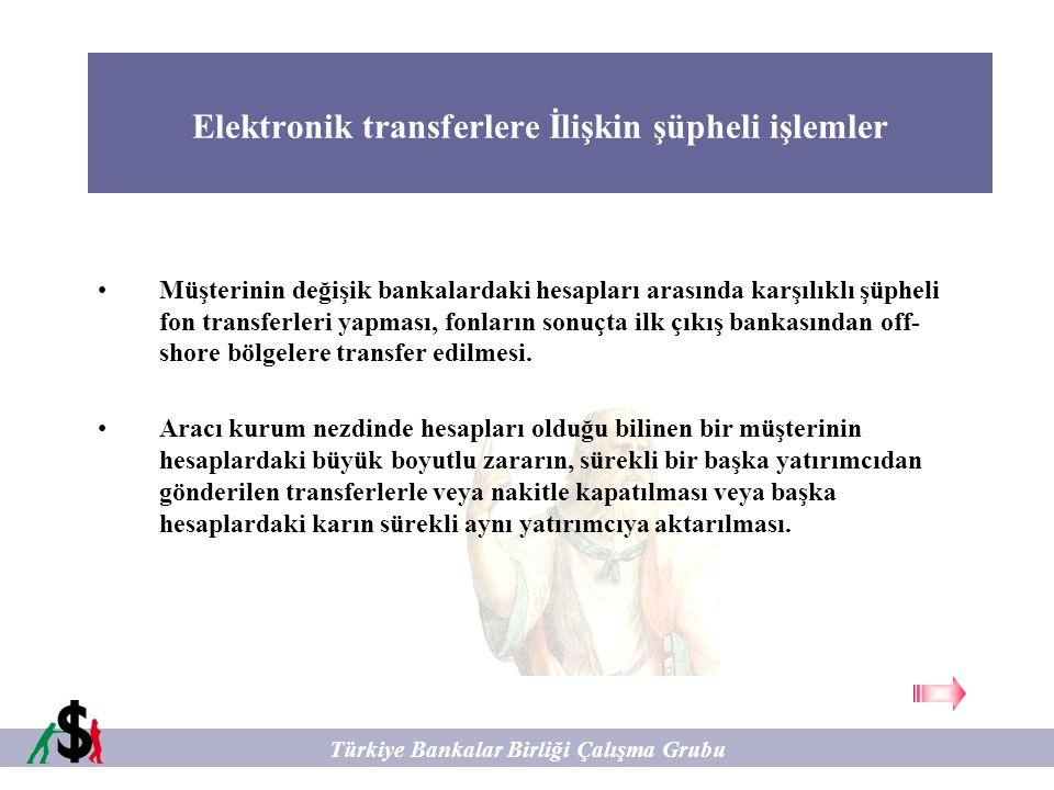 Elektronik transferlere İlişkin şüpheli işlemler Türkiye Bankalar Birliği Çalışma Grubu Müşterinin değişik bankalardaki hesapları arasında karşılıklı