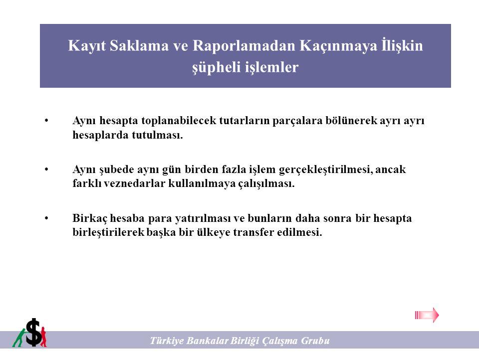 Kayıt Saklama ve Raporlamadan Kaçınmaya İlişkin şüpheli işlemler Türkiye Bankalar Birliği Çalışma Grubu Aynı hesapta toplanabilecek tutarların parçala