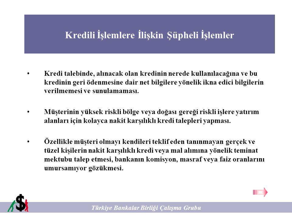 Kredili İşlemlere İlişkin Şüpheli İşlemler Türkiye Bankalar Birliği Çalışma Grubu Kredi talebinde, alınacak olan kredinin nerede kullanılacağına ve bu