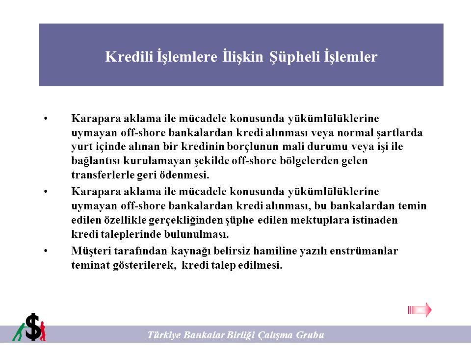 Kredili İşlemlere İlişkin Şüpheli İşlemler Türkiye Bankalar Birliği Çalışma Grubu Karapara aklama ile mücadele konusunda yükümlülüklerine uymayan off-