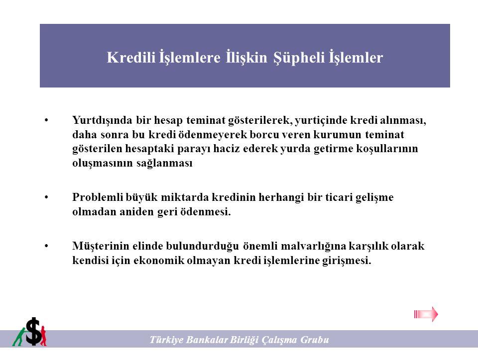 Kredili İşlemlere İlişkin Şüpheli İşlemler Türkiye Bankalar Birliği Çalışma Grubu Yurtdışında bir hesap teminat gösterilerek, yurtiçinde kredi alınmas