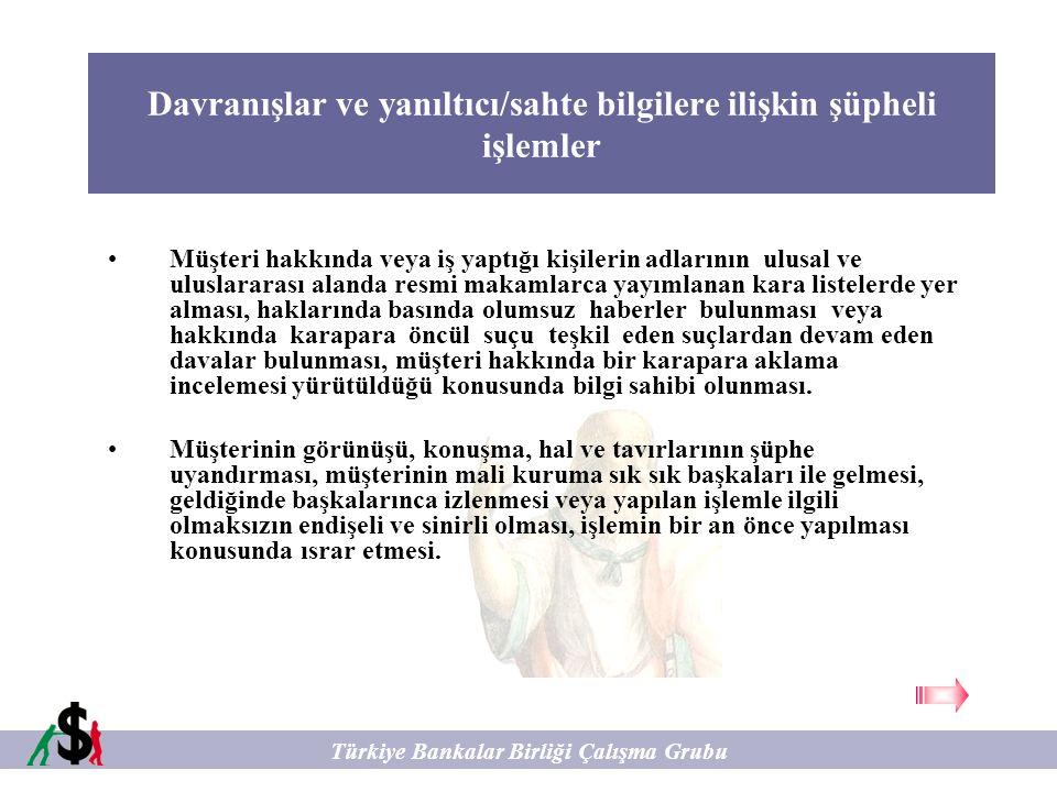 Kayıt Saklama ve Raporlamadan Kaçınmaya İlişkin şüpheli işlemler Türkiye Bankalar Birliği Çalışma Grubu Belli bir tutarı aştığında kimlik tespiti yapılması zorunlu olan veya resmi mercilere düzenli olarak raporlanması gereken işlem tutarları ve bankacılık işlemlerinden kaçınmak amacıyla müşteri tarafından yasal sınırların altında işlem yapılmaya çalışılması, bu amaçla para hareketinin birden fazla işleme, kişi adına, hesaba, havale veya nakit işleme bölünmesi.