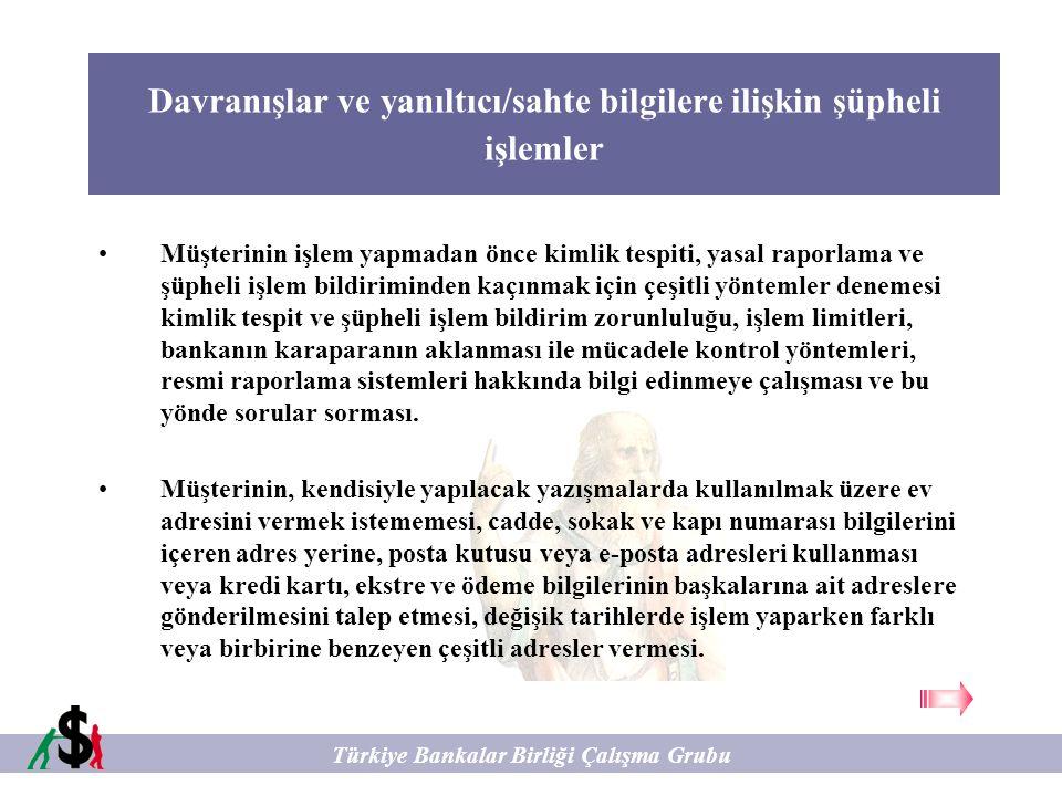 Kredili İşlemlere İlişkin Şüpheli İşlemler Türkiye Bankalar Birliği Çalışma Grubu Kredi talebinde, alınacak olan kredinin nerede kullanılacağına ve bu kredinin geri ödenmesine dair net bilgilere yönelik ikna edici bilgilerin verilmemesi ve sunulamaması.