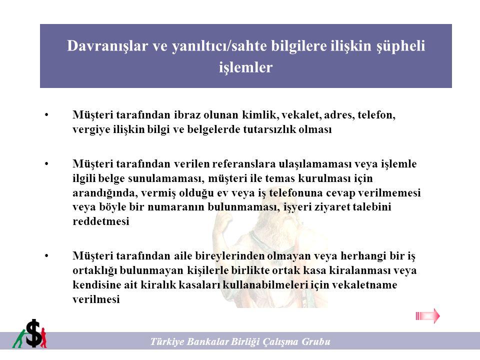 Kredili İşlemlere İlişkin Şüpheli İşlemler Türkiye Bankalar Birliği Çalışma Grubu Yurtdışında bir hesap teminat gösterilerek, yurtiçinde kredi alınması, daha sonra bu kredi ödenmeyerek borcu veren kurumun teminat gösterilen hesaptaki parayı haciz ederek yurda getirme koşullarının oluşmasının sağlanması Problemli büyük miktarda kredinin herhangi bir ticari gelişme olmadan aniden geri ödenmesi.