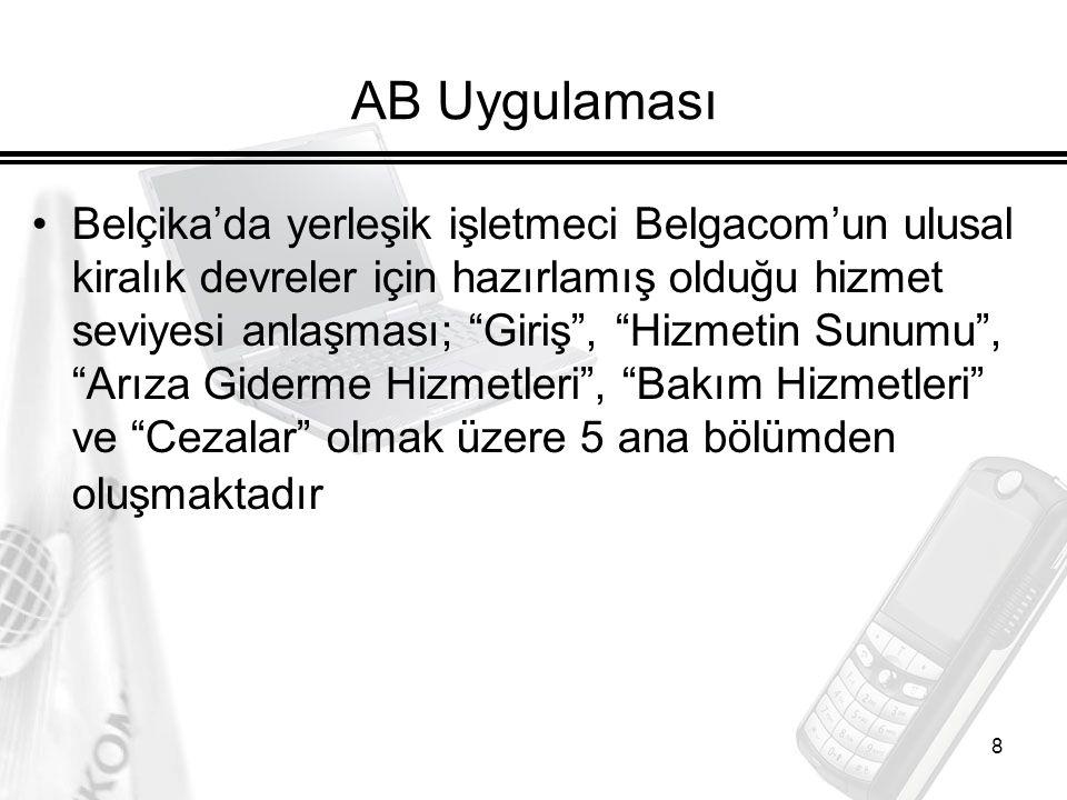 9 Ülkemiz Mevzuatı ve Hedefler İçerik: Türk Telekom tarafından sunulan yurtiçi kiralık devre hizmetinin başvuru, tahsis ve tesisi ile arıza takip ve ıslah süreçlerine ilişkin usul, esas ve standartlar -------------------------------------------------------------------- Kapsam, Tanımlar, Arıza Takip ve Islah Süreci, Sorumluluklar