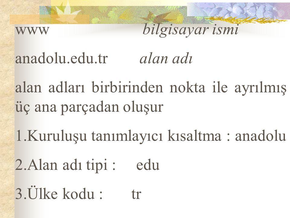 www bilgisayar ismi anadolu.edu.tr alan adı alan adları birbirinden nokta ile ayrılmış üç ana parçadan oluşur 1.Kuruluşu tanımlayıcı kısaltma : anadol