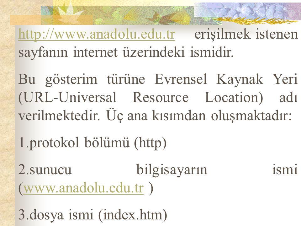 http://www.anadolu.edu.tr erişilmek istenen sayfanın internet üzerindeki ismidir. Bu gösterim türüne Evrensel Kaynak Yeri (URL-Universal Resource Loca