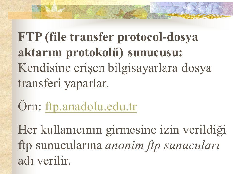 FTP (file transfer protocol-dosya aktarım protokolü) sunucusu: Kendisine erişen bilgisayarlara dosya transferi yaparlar. Örn: ftp.anadolu.edu.trftp.an