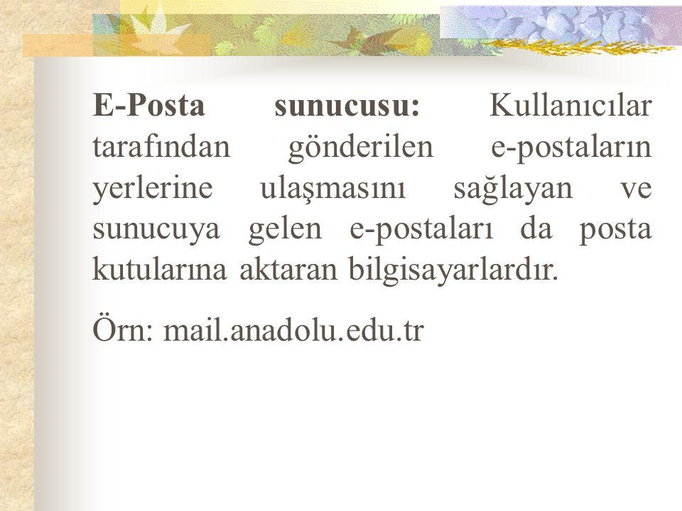E-Posta sunucusu: Kullanıcılar tarafından gönderilen e-postaların yerlerine ulaşmasını sağlayan ve sunucuya gelen e-postaları da posta kutularına akta