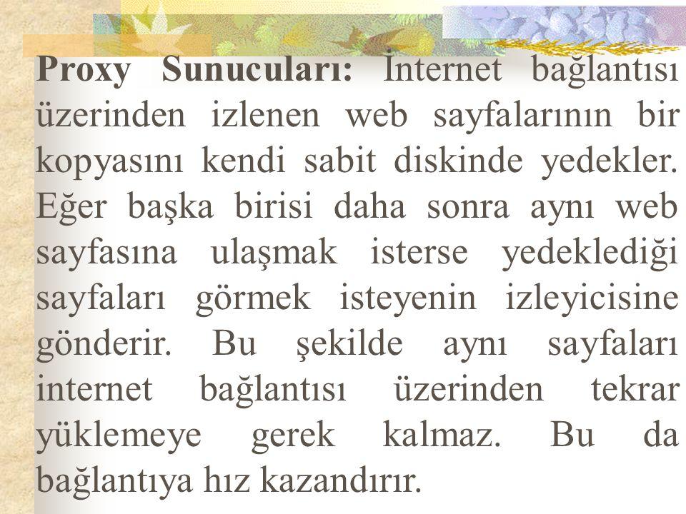 Proxy Sunucuları: İnternet bağlantısı üzerinden izlenen web sayfalarının bir kopyasını kendi sabit diskinde yedekler. Eğer başka birisi daha sonra ayn