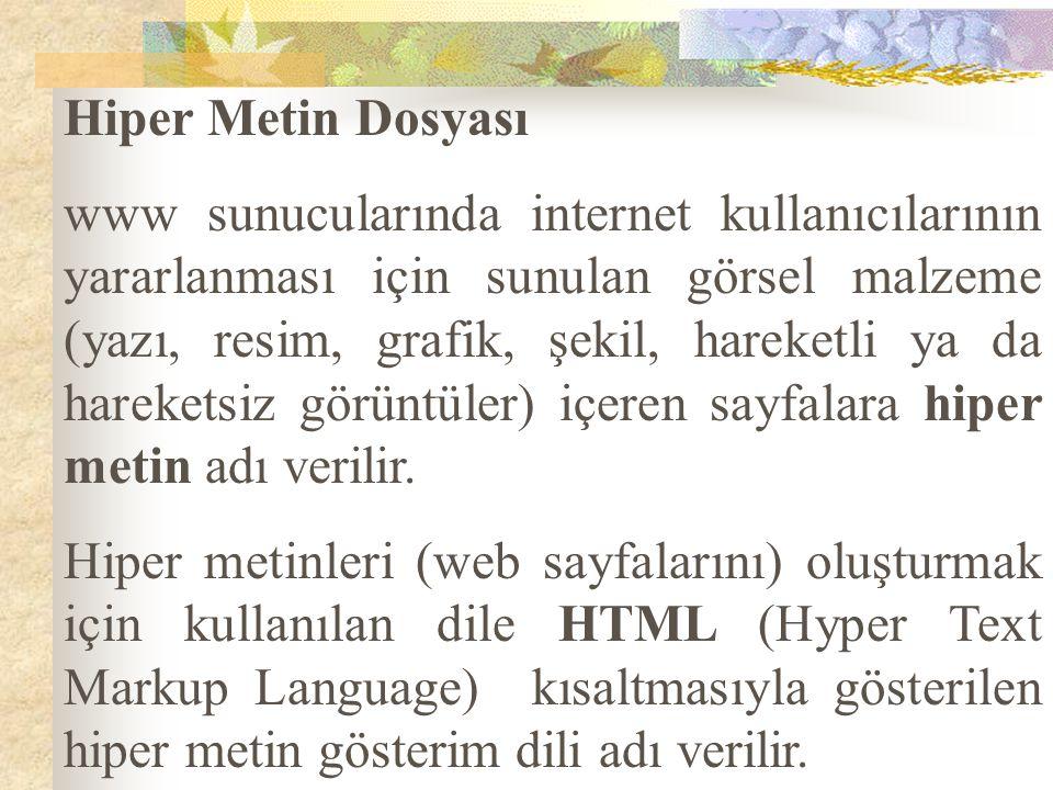 Hiper Metin Dosyası www sunucularında internet kullanıcılarının yararlanması için sunulan görsel malzeme (yazı, resim, grafik, şekil, hareketli ya da