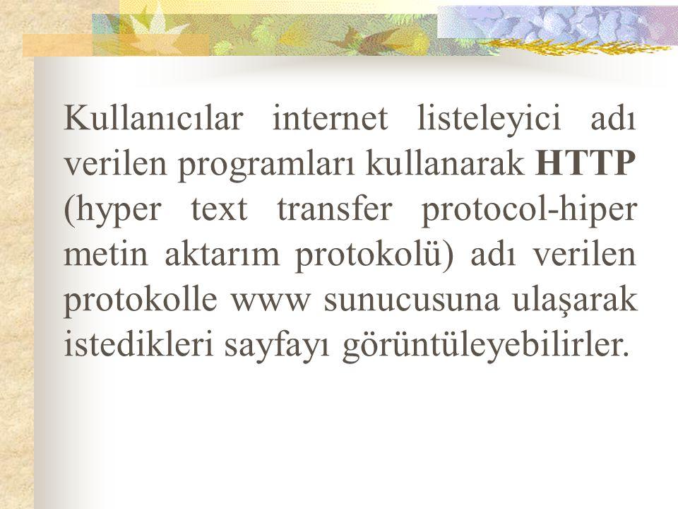 Kullanıcılar internet listeleyici adı verilen programları kullanarak HTTP (hyper text transfer protocol-hiper metin aktarım protokolü) adı verilen pro