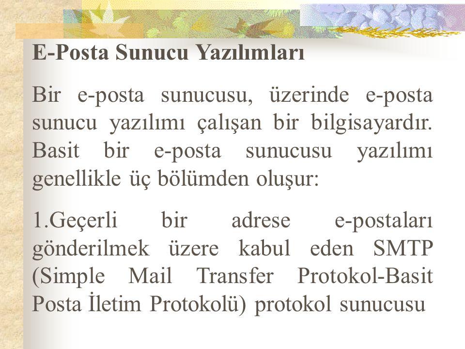 E-Posta Sunucu Yazılımları Bir e-posta sunucusu, üzerinde e-posta sunucu yazılımı çalışan bir bilgisayardır. Basit bir e-posta sunucusu yazılımı genel