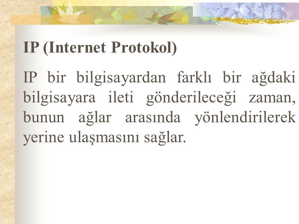 IP (Internet Protokol) IP bir bilgisayardan farklı bir ağdaki bilgisayara ileti gönderileceği zaman, bunun ağlar arasında yönlendirilerek yerine ulaşm