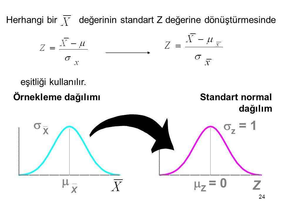 24 Herhangi bir değerinin standart Z değerine dönüştürmesinde eşitliği kullanılır.