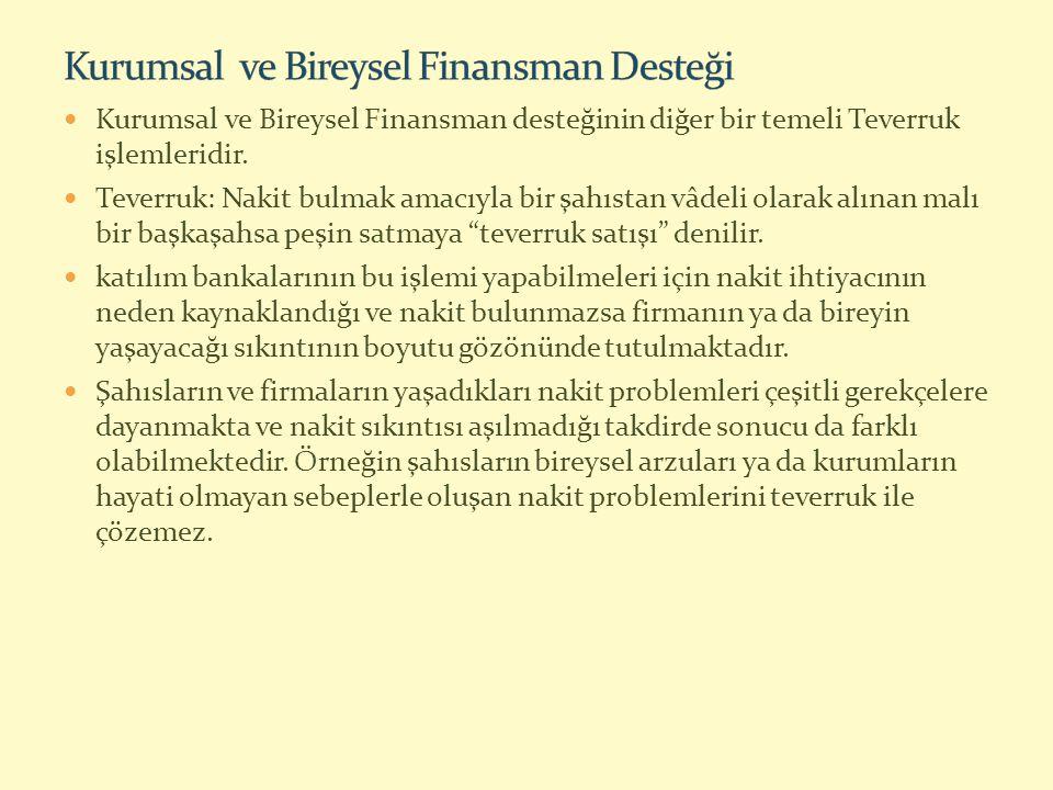 Kurumsal ve Bireysel Finansman desteğinin diğer bir temeli Teverruk işlemleridir.