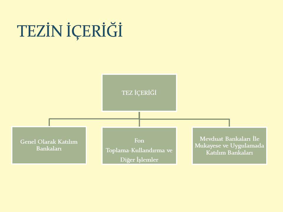 Tarihi Gelişim Dünyada benzer faaliyette bulunan Kuruluşlar Türkiye'de faaliyet Gösteren Katılım Bankaları Katılım Bankalarının Genel Özellikleri Katılım Bankalarının Hukuki Alt Yapısı
