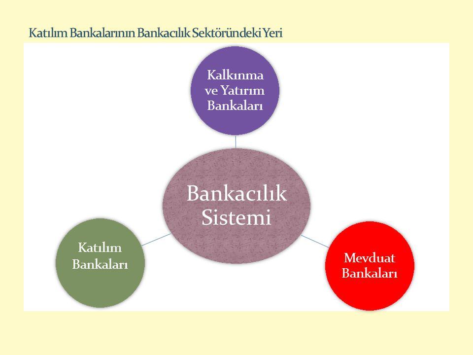 BANKALAR KURULUŞ SAYISI AKTİFLER TOPLANAN FONLAR KULLANDIRILAN FONLAR MİLYON TL PAYI (%) MİLYON TL PAYI (%) MİLYON TL PAYI (%) Mevduat Bankaları 311.247.57491,0735.47593,8748.30090,2 Katılım Bankaları 470.2795,148.1986,250.0316,0 Kalkınma ve Y.