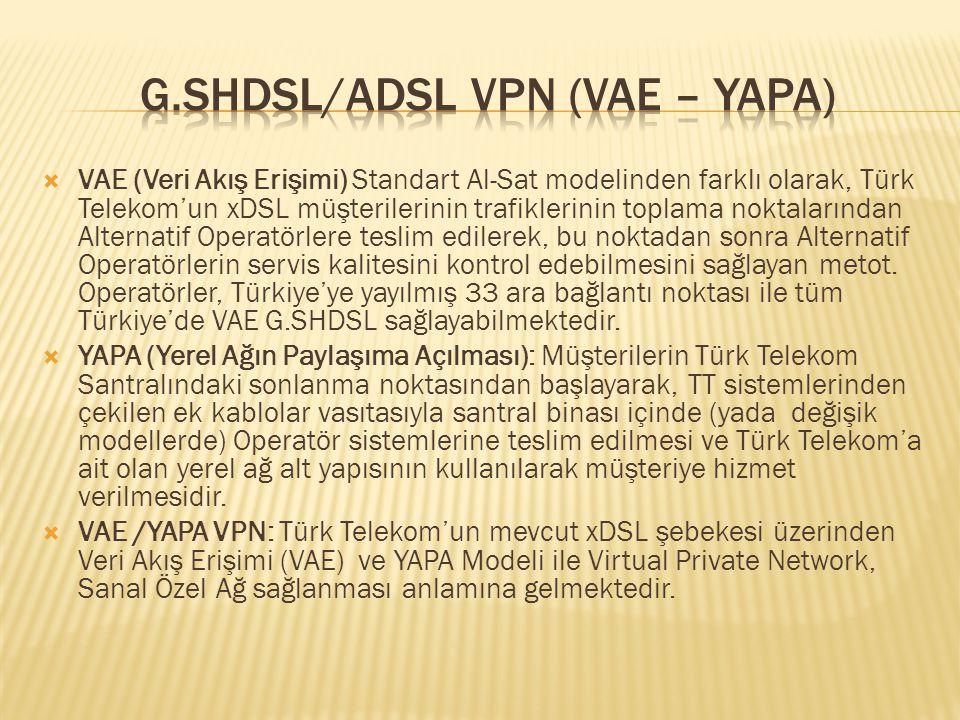  VAE (Veri Akış Erişimi) Standart Al-Sat modelinden farklı olarak, Türk Telekom'un xDSL müşterilerinin trafiklerinin toplama noktalarından Alternatif Operatörlere teslim edilerek, bu noktadan sonra Alternatif Operatörlerin servis kalitesini kontrol edebilmesini sağlayan metot.