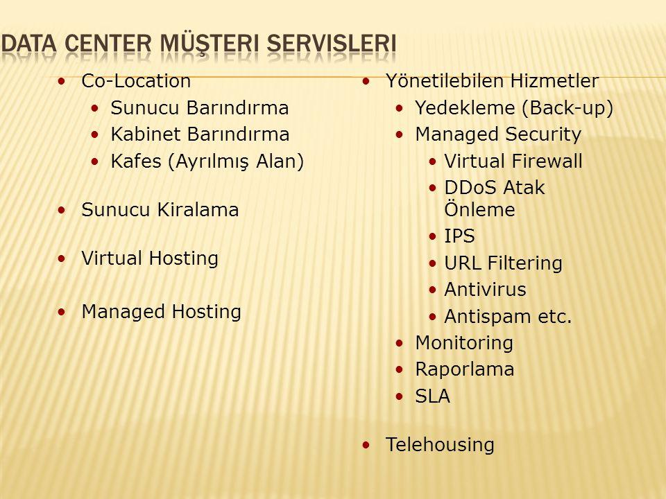 Co-Location Sunucu Barındırma Kabinet Barındırma Kafes (Ayrılmış Alan) Sunucu Kiralama Virtual Hosting Managed Hosting Yönetilebilen Hizmetler Yedekleme (Back-up) Managed Security Virtual Firewall DDoS Atak Önleme IPS URL Filtering Antivirus Antispam etc.