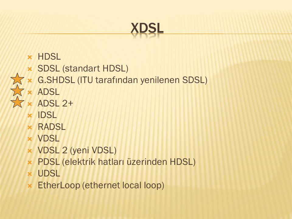  HDSL  SDSL (standart HDSL)  G.SHDSL (ITU tarafından yenilenen SDSL)  ADSL  ADSL 2+  IDSL  RADSL  VDSL  VDSL 2 (yeni VDSL)  PDSL (elektrik hatları üzerinden HDSL)  UDSL  EtherLoop (ethernet local loop)