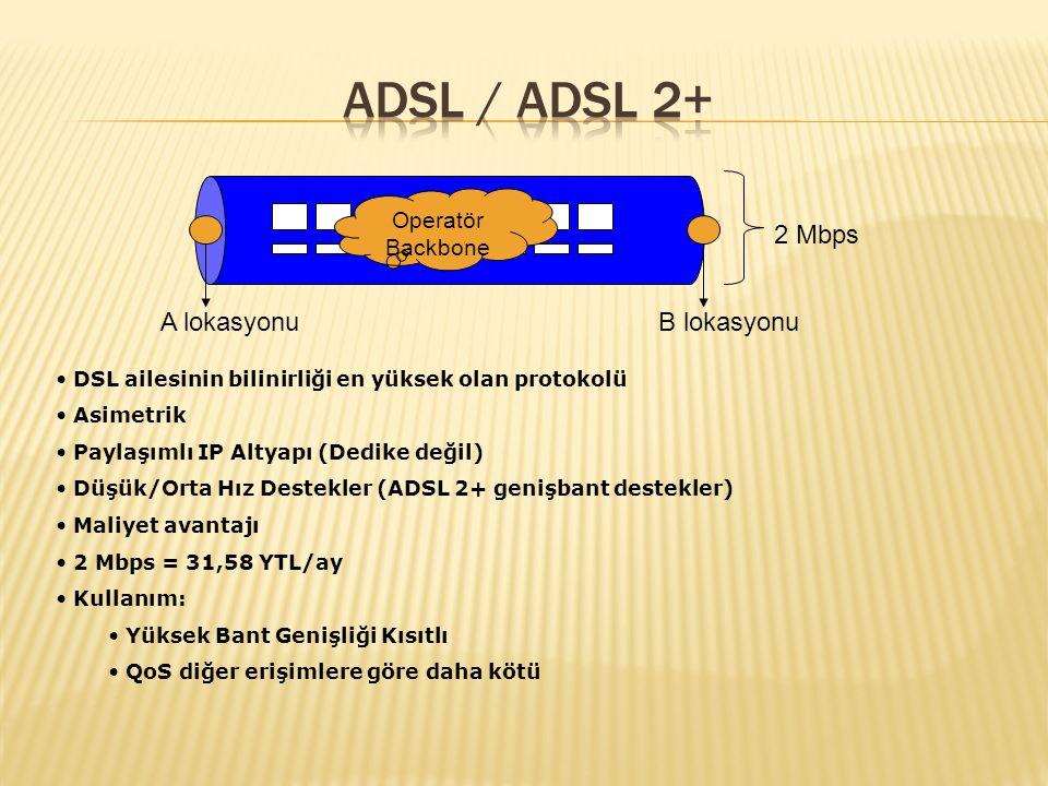 Simetrik Paylaşımlı IP Altyapı (Dedike değil) Düşük/Orta Hız Destekler Maliyet avantajı 2 Mbps = 180 YTL/ay Kullanım: Yüksek Bant Genişliği Kısıtlı Düşük/Orta Bant Genişliğinde Kullanılıyor 2 Mbps A lokasyonu B lokasyonu Operatör Backbone