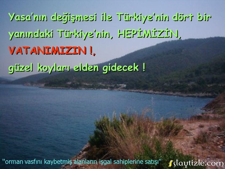 Yasa'nın değişmesi ile Türkiye'nin dört bir yanındaki Türkiye'nin, HEPİMİZİN, VATANIMIZIN !, güzel koyları elden gidecek .