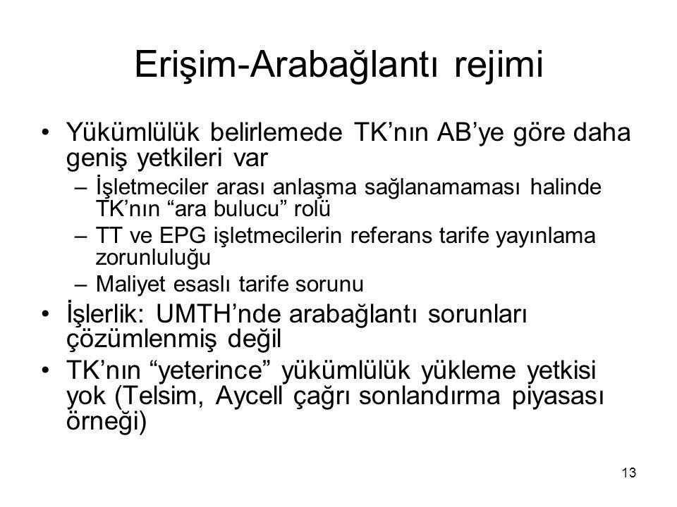 13 Erişim-Arabağlantı rejimi Yükümlülük belirlemede TK'nın AB'ye göre daha geniş yetkileri var –İşletmeciler arası anlaşma sağlanamaması halinde TK'nı