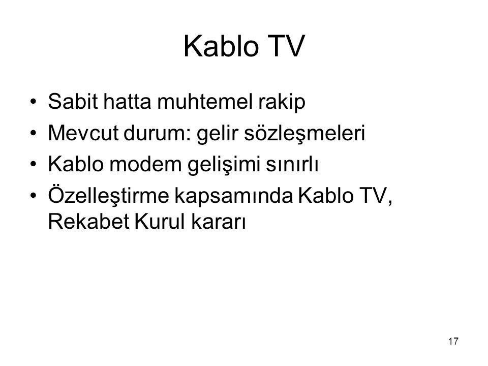 17 Kablo TV Sabit hatta muhtemel rakip Mevcut durum: gelir sözleşmeleri Kablo modem gelişimi sınırlı Özelleştirme kapsamında Kablo TV, Rekabet Kurul k