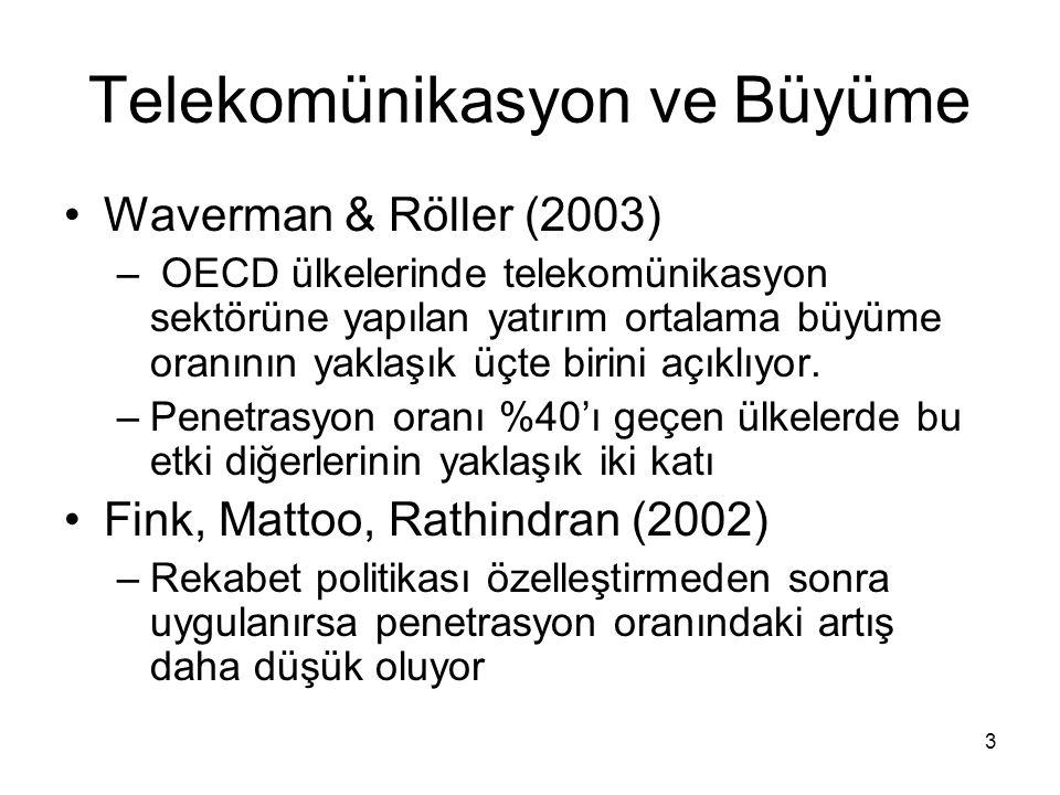 3 Telekomünikasyon ve Büyüme Waverman & Röller (2003) – OECD ülkelerinde telekomünikasyon sektörüne yapılan yatırım ortalama büyüme oranının yaklaşık