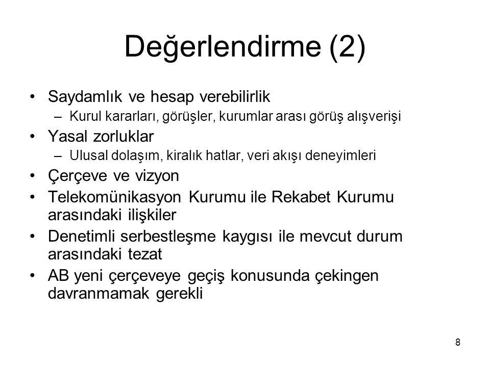 9 Türkiye'de Düzenleyici Ortam Ex-ante düzenlemeler –Yetkilendirme/lisanslama –Etkin Piyasa Gücü'ne (EPG) sahip işletmelerin belirlenmesi –Erişim/arabağlantı –Tarife denetimi Ex-post rekabet politikası uygulaması