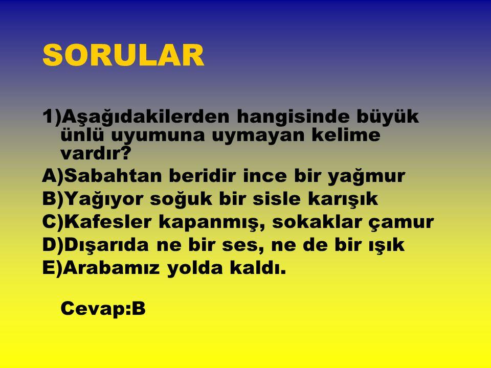 12)Hangi bilgi yanlıştır.A)Türkçe sözcüklerde iki ünsüz bulunmaz.