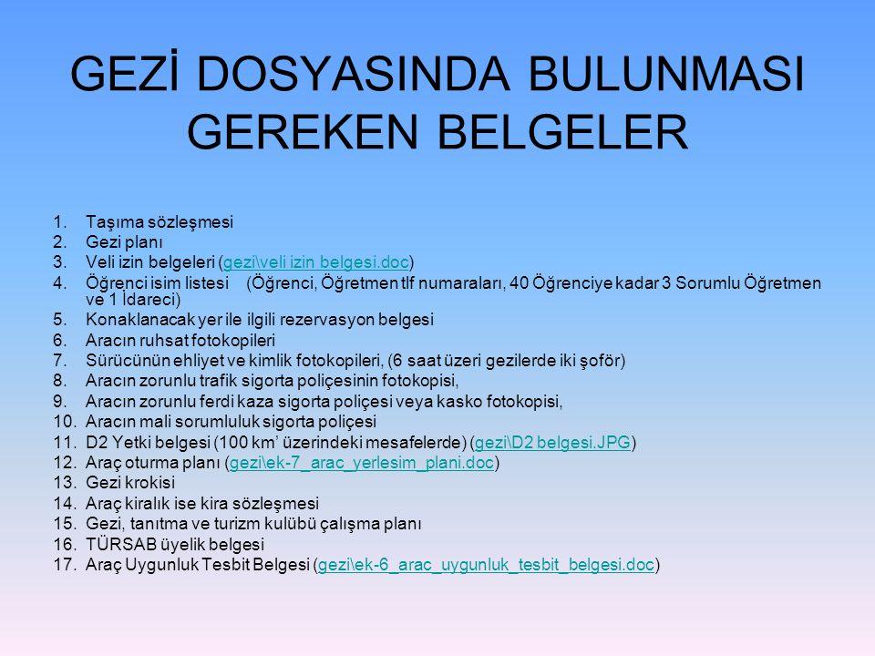 GEZİ DOSYASINDA BULUNMASI GEREKEN BELGELER 1.Taşıma sözleşmesi 2.Gezi planı 3.Veli izin belgeleri (gezi\veli izin belgesi.doc)gezi\veli izin belgesi.d