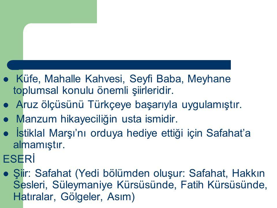 Küfe, Mahalle Kahvesi, Seyfi Baba, Meyhane toplumsal konulu önemli şiirleridir. Aruz ölçüsünü Türkçeye başarıyla uygulamıştır. Manzum hikayeciliğin us