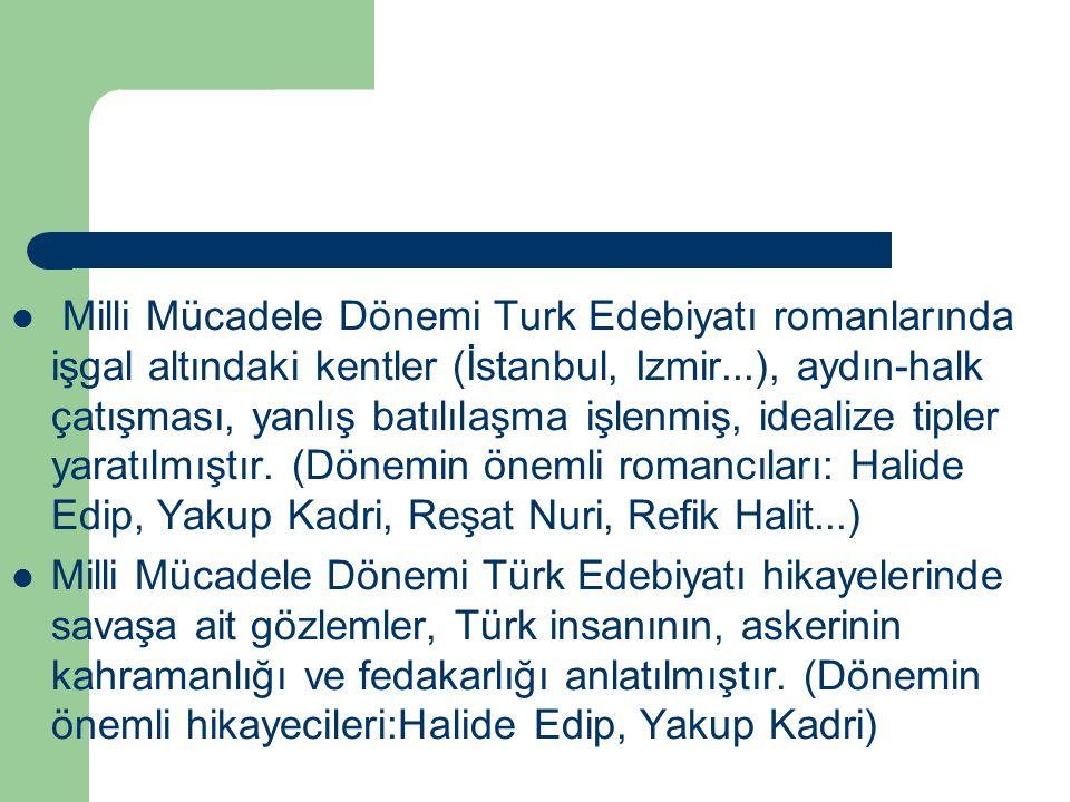Milli Mücadele Dönemi Turk Edebiyatı romanlarında işgal altındaki kentler (İstanbul, Izmir...), aydın-halk çatışması, yanlış batılılaşma işlenmiş, ide